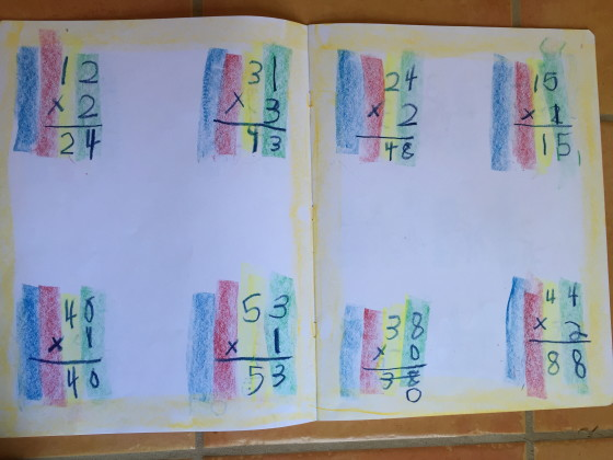 Color coded multiplication columns